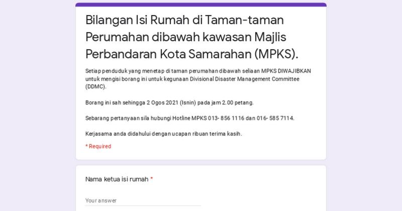 Bilangan Isi Rumah di Taman-taman Perumahan dibawah kawasan Majlis Perbandaran Kota Samarahan (MPKS).